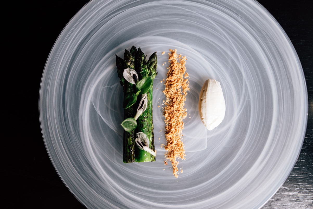Pure South's delicious asparagus, hazelnut, Mountain River yoghurt with beurre noisette