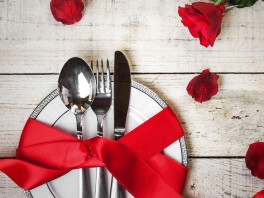 Table set for celebration St. Valentine's Day